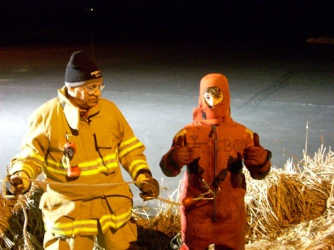 Student and instructor in water rescue gear