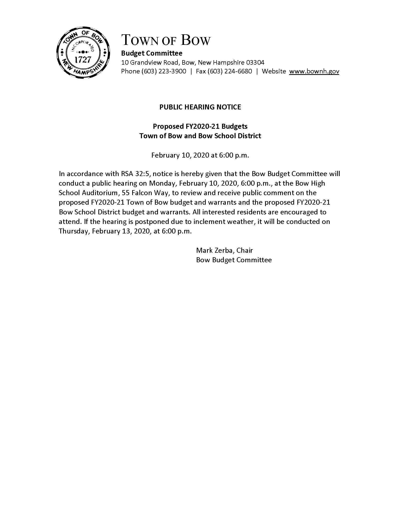 FY2020-21 Budget Hearing Notice