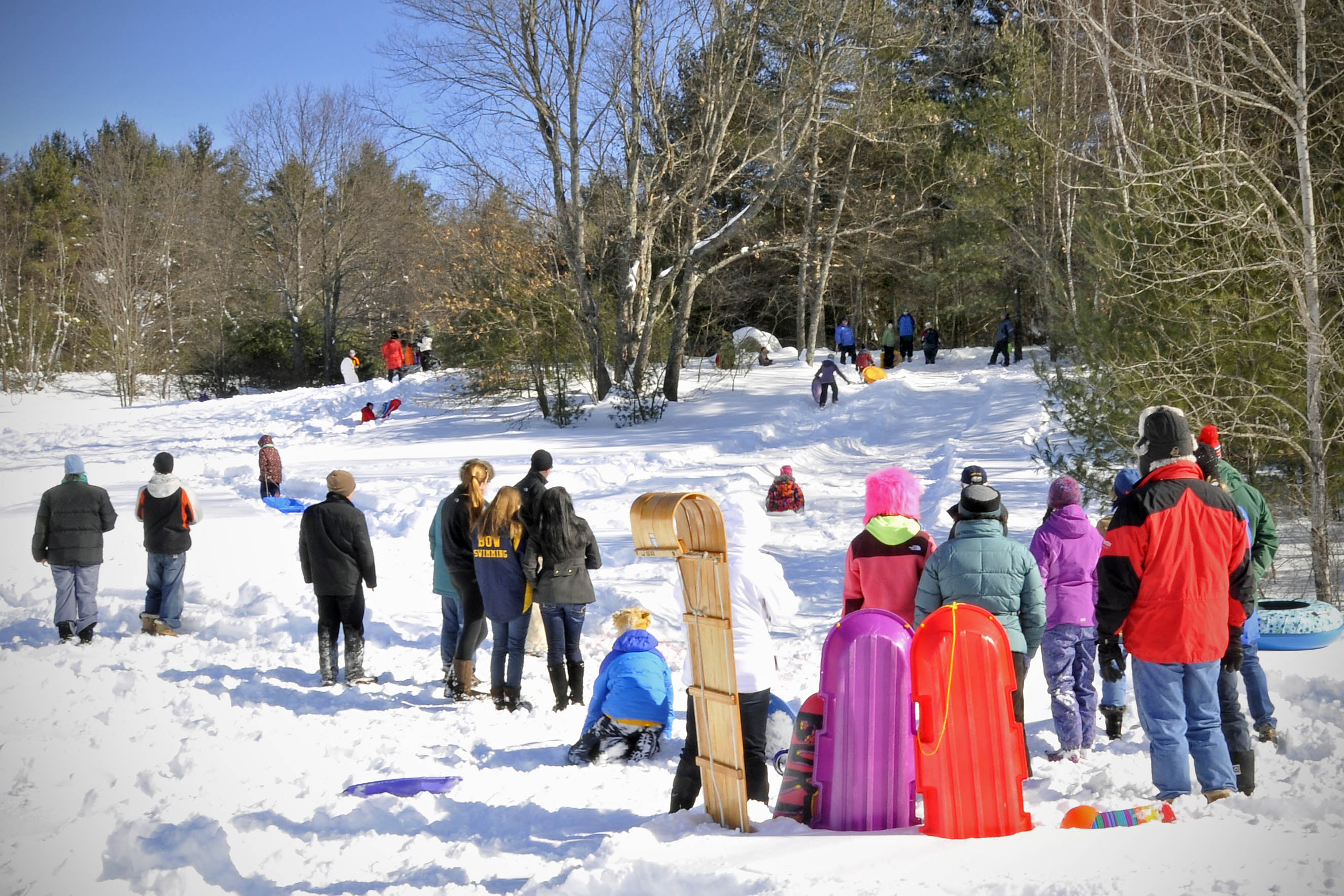 Adults and children with winter coats sledding down a hill